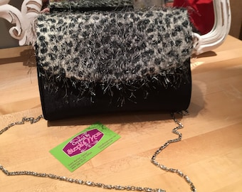 Black and silver Leopard design Metallic material with Silver Black Metallic Eyelash Fringed Novelty Woven prom clutch One of a kind