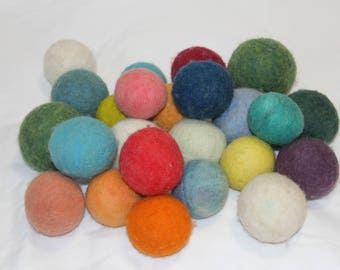 100 % wool dryer balls - set of 4 colored