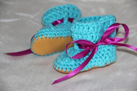 best authentic 67684 a14f8 Säuglings häkeln Tie Schuhe mit Ledersohlen, häkeln, Hausschuhe, Kinder  Hausschuhe, Größen Neugeborenen - 2 Jahre