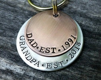 Personalized Gift for Dad - Father's Day Keychain - Grandpa Est Gift - New Grandpa Gift - Custom Keychain