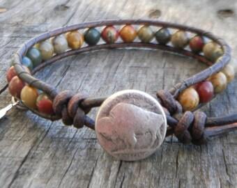 Native American Mens Jewelry - Buffalo Nickel - Beaded Bracelet Women - Bead Bracelet - Beaded Wrap Bracelet - Beaded Leather Wrap