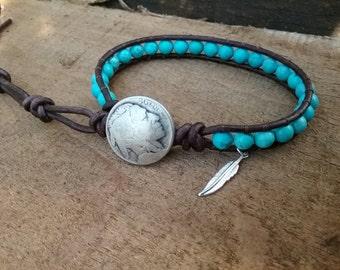 Native American Mens Jewelry - Turquoise Bracelet Men - Indian Head Bracelet - Beaded Bracelet - Leather Wrap Bracelet for Women