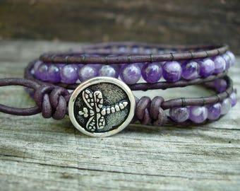February Birthstone - Amethyst Bracelet - Birthstone Bracelet - Amethyst Wrap Bracelet - Beaded Bracelets for Women - Violet Jewelry