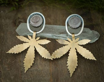 Pot Leaf Earrings, Brass, Sterling Silver, and Rose Quartz Awl