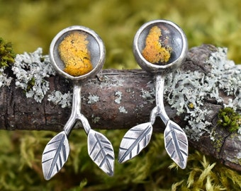 Lichen in Resin Branch Studs | Sterling Silver