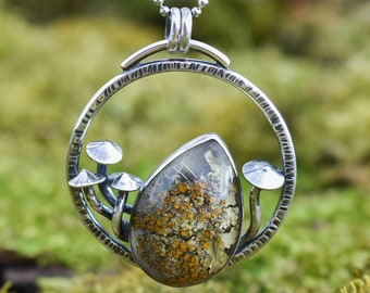 Mycena Forest Floor Growth Pendant, Lichen and Sterling Silver