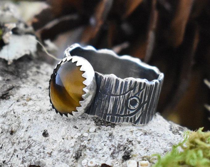 Wide Bark Band Ring | Sterling Silver and Tiger's Eye | Size 5