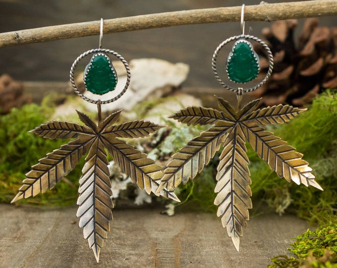 Big 'ol Pot Leaf Earrings with Buddhas, Sterling Silver and Aventurine