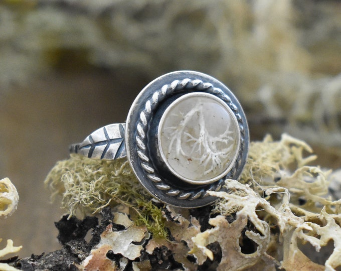 Double Leaf Ring | Sterling Silver and Real Lichen | Size 5.5