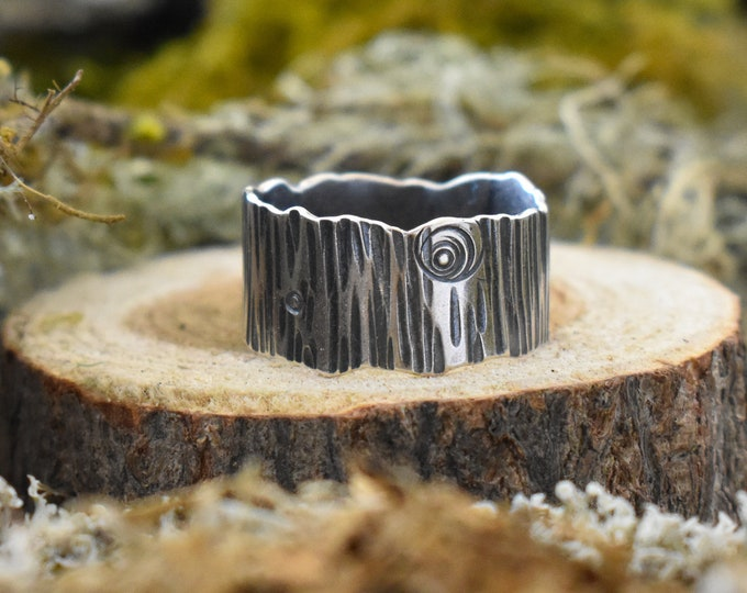 Wide Bark Band Ring | Sterling Silver | Size 6.75
