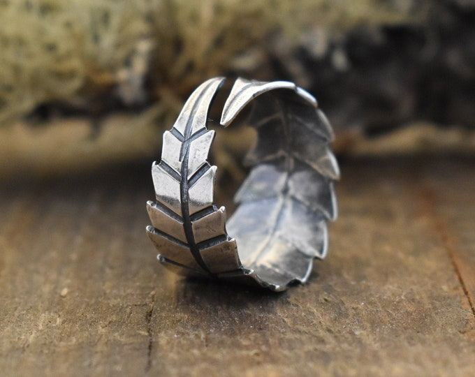 Cannabis Wrap Ring | Sterling Silver | Adjustable Sizes 7 to 9