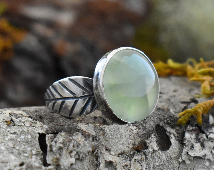 Double Leaf Ring | Sterling Silver and Prehnite | Size 5.75