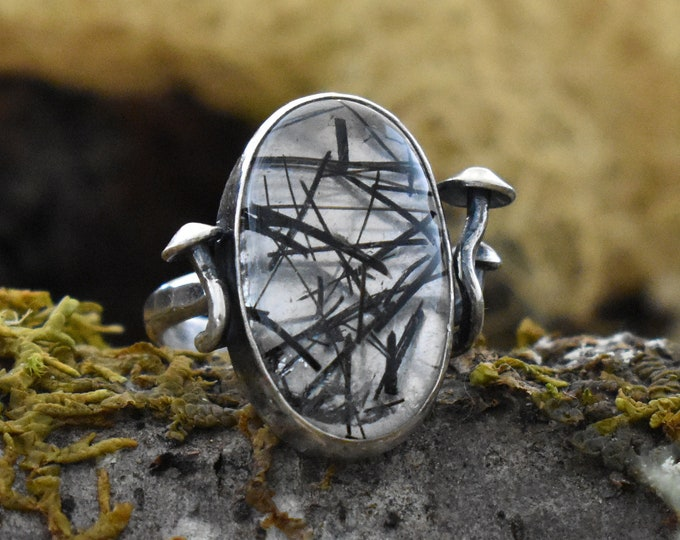 Dark Forest Fungi Ring | Sterling Silver and Rutilated Quartz | Size 5.5
