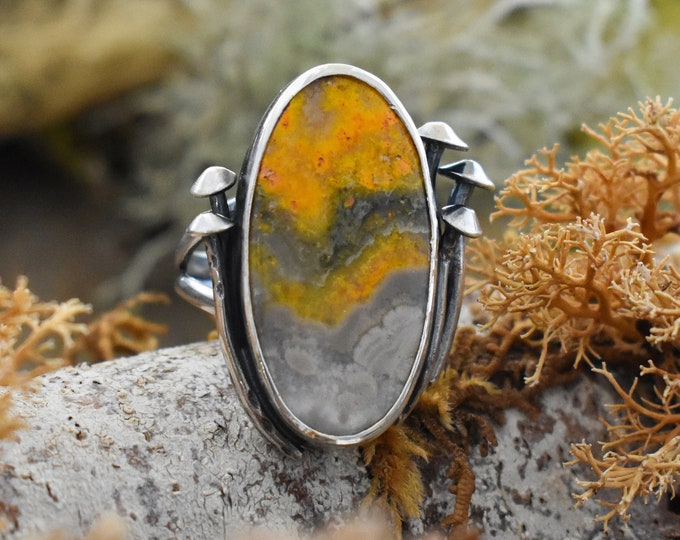 Fungal Decay Ring | Sterling Silver and Bumble Bee Jasper | Size 7.5