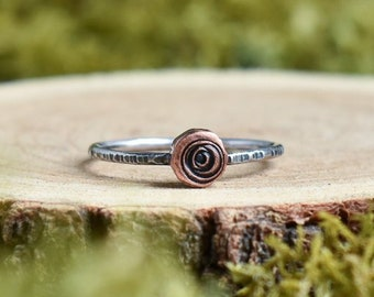Log Slice Stacking Ring | Made to Order | Sterling Silver + Copper