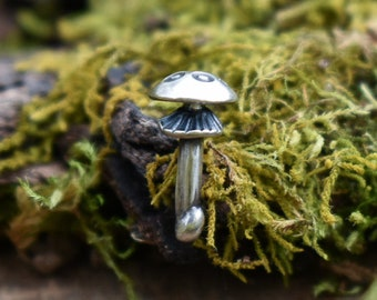 Amanita Mushroom Pin | Sterling Silver | Made to Order