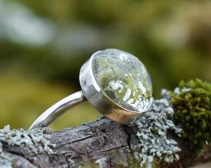 Lichen in Resin Simple Ring | Sterling Silver | Size 10.25