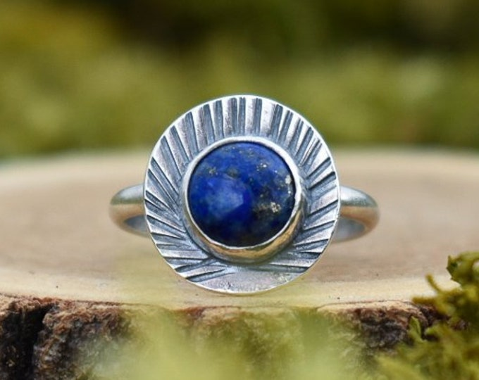 Lapis Lazuli Forest Deco Ring | Sterling Silver | Size 9.5