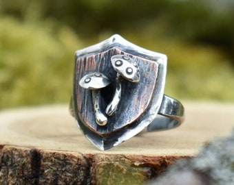 Toadstool Shield Ring | Sterling Silver and Copper | Size 8.75