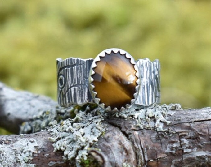 Tree Bark Wide Band Ring, Sterling Silver and Tiger's Eye, Size 5