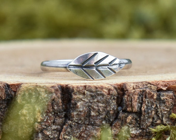 Leaf Stacking Ring   Made to Order   Sterling Silver
