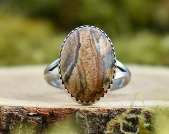 Picture Jasper Simple Ring | Sterling Silver | Size 7.25