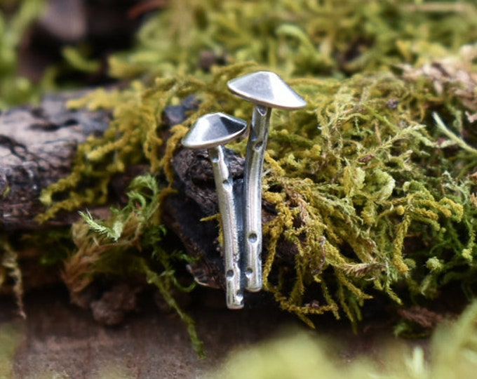 Mycena Duo Pin   Sterling Silver and Nickel   Made to Order