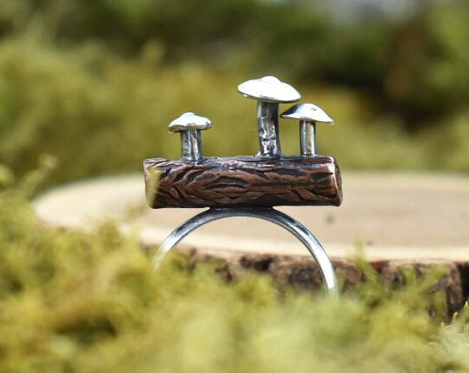 Mushrooms on a Log Ring   Copper and Sterling Silver   Size 6.5
