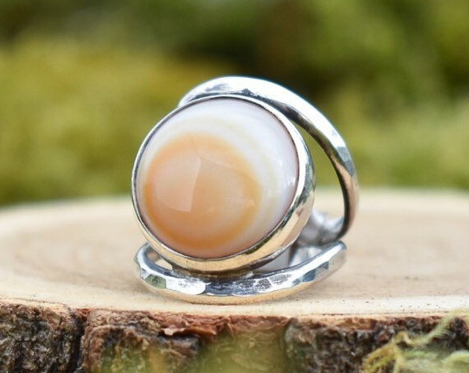 Split Band Ring   Agate and Sterling Silver   Size 5