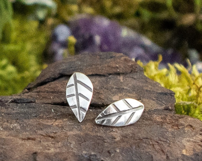 Hand Stamped Leaf Stud Earrings | Sterling Silver | Made to Order