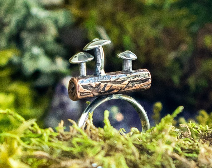 Mushrooms on a Log Ring | Copper and Sterling Silver | Size 6.5