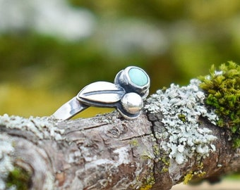 Turquoise Mini Forest Cluster Ring   Sterling Silver   Size 5.75