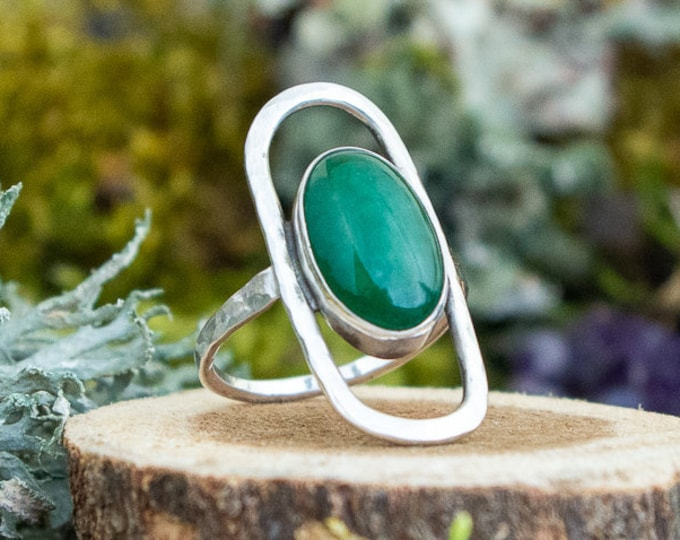 Forest Mod Ring   Aventurine and Sterling Silver   Size 10.5