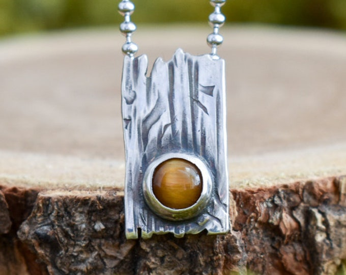 Bark Pendant | Tiger's Eye and Sterling Silver