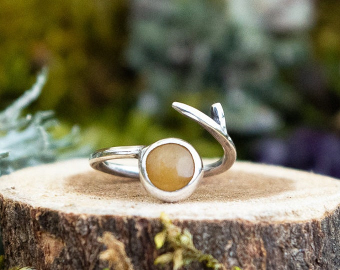 Branch Wrap Ring | Yellow Aventurine and Sterling Silver | Size 6