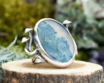 Nestled Mushroom Ring | Moss Agate and Sterling Silver | Size 6.25