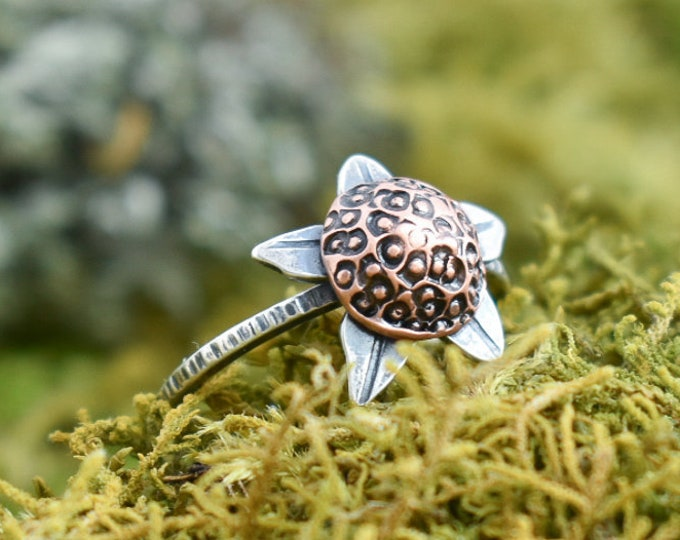 Thimbleberry Ring | Sterling Silver and Copper | Size 7