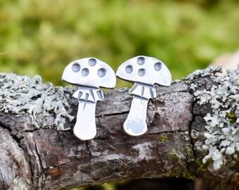 Amanita  Mushroom Stud Earrings | Sterling Silver