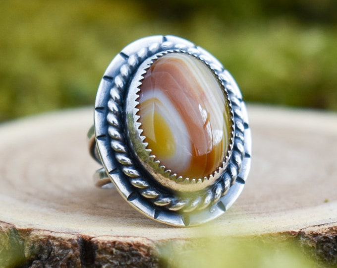 Banded Agate Classic Ring | Sterling Silver | Size 6