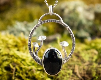 Dark Forest Fungi Pendant | Black Onyx and Sterling Silver