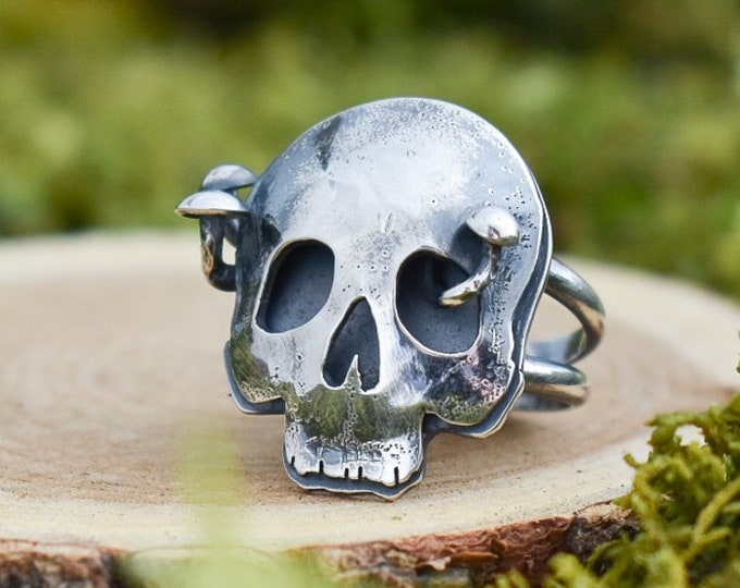Featured listing image: Hollow Skull and Shroom Ring | Sterling Silver | Size 8