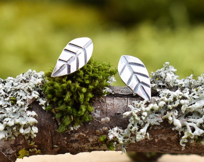 Little Leaf Stud Earrings | Sterling Silver | Made to Order