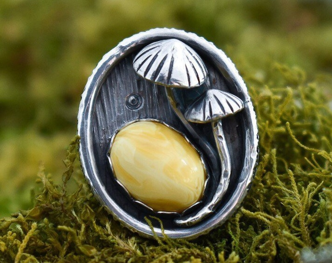 Featured listing image: Mycena Mushroom Ring with Amber, Sterling Silver, Size 7