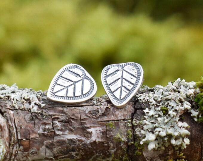 Heart Leaf Stud Earrings | Sterling Silver