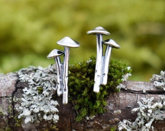 Mycena Mushroom Duo Stud Earrings | Sterling Silver | Made to Order