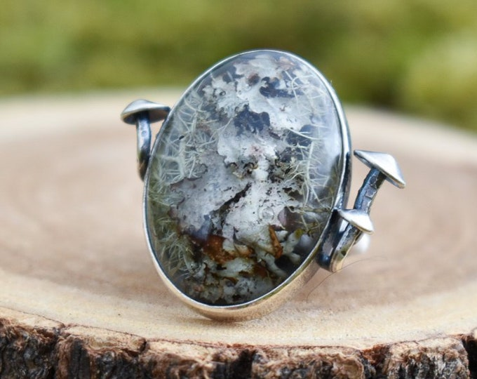 Nestled Mushroom Ring | Real Lichen in Resin and Sterling Silver | Size 5.25
