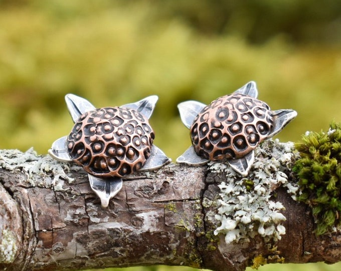 Thimbleberry Stud Earrings | Sterling Silver and Copper