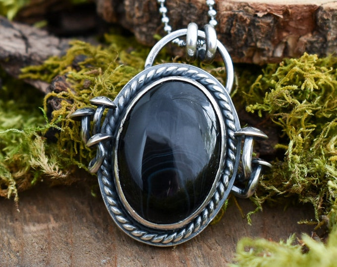 Featured listing image: Dark Forest Fungi Pendant | Black Onyx and Sterling Silver