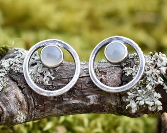 Bark Loop with Moonstone | Sterling Silver and Moonstone