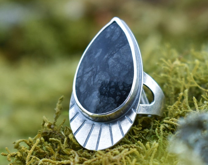 Picasso Jasper Forest Deco Ring | Sterling Silver | Size 9.5